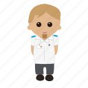 brown hair, cartoon, male, nhs, nurse, nursing, tunic, uniform icon