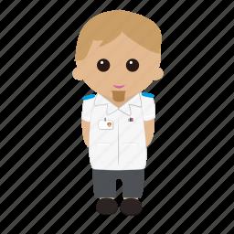 brown hair, cartoon, male, nhs, nurse, nursing, tunic, uniform icon