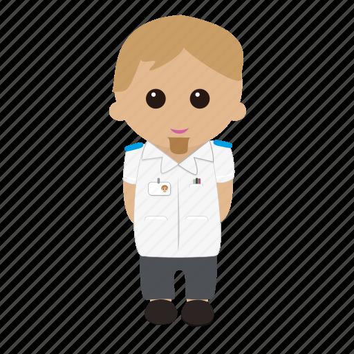 Brown Hair Cartoon Male Nhs Nurse Nursing Tunic Uniform Icon
