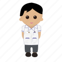 black hair, cartoon, male, nhs, nurse, nursing, tunic, uniform icon