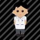black hair, cartoon, male, nhs, nurse, nursing, tunic, uniform icon