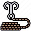 hook, tools, grappling, rope, climbing icon