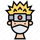 fight, gear, headband, ninja, symbol icon