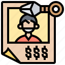 criminal, kunai, poster, reward, wanted icon