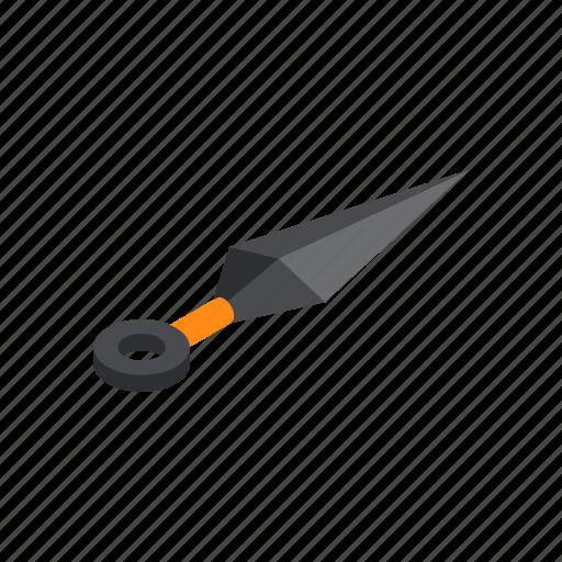 asian, combat, isometric, knife, kunai, traditional, weapon icon