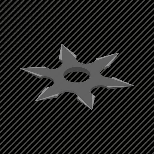 isometric, karate, ninja, shuriken, star, throwing, weapon icon