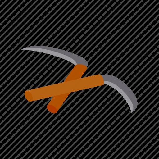 isometric, kama, karate, martial, nunchuk, stick, weapon icon