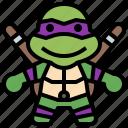 avatar, donatello, hero, ninja, people, super, turtles icon