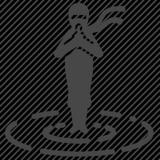 japanese, ninja, ninjutsu, stand, standing on water, surface, water icon