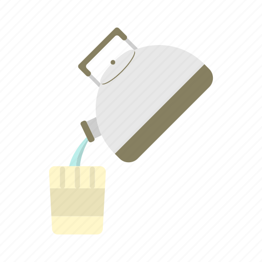 convenience, glass, instant noodle, kettle, pouring, water icon