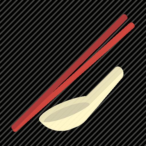 food, oriental, silverware, spoon and chopsticks, utensil icon