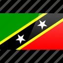 flag, kitts, nevis, north american, rectangular, saint