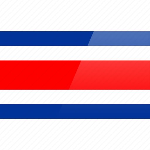 costa, flag, north american, rectangular, rica icon