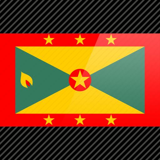 flag, grenada, north american, rectangular icon