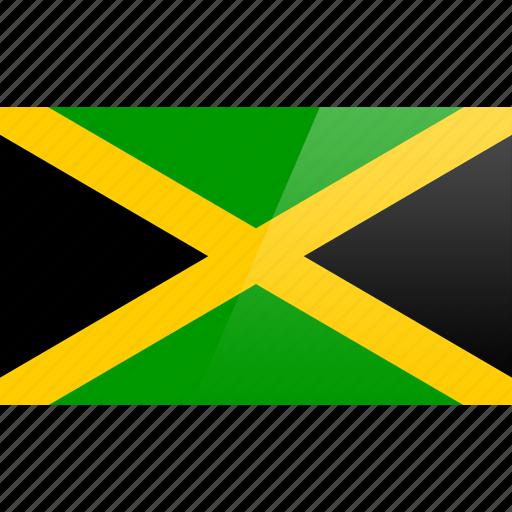 flag, jamaica, north american, rectangular icon