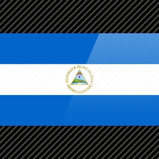 flag, nicaragua, north american, rectangular icon