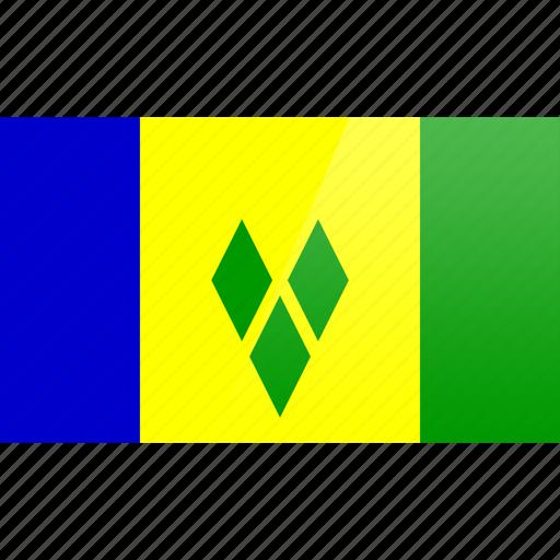 flag, granadines, north american, rectangular, saint, vincent icon