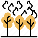 burning, devastation, forest, nature, wildfire icon