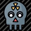 danger, energy, nuclear, radiation, signaling, skull, warning