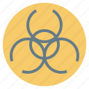 danger, hazard, industry, nuclear, radiation, signaling, warning icon