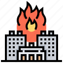 building, city, damage, fire, flame icon