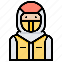 chemical, mask, protective, suit icon
