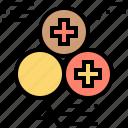charge, nucleus, particle, positive, proton icon