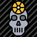 brain, radiation, scalp, skull, therapy icon