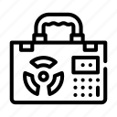 lined, nuclear, linear, counter, submarine, energy, suitcase icon