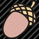 acorn, bean, beans, color, fruit, oak, vegetarian icon