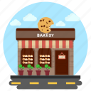 bakery, bakery store, marlet building, sweet shop, sweet store icon