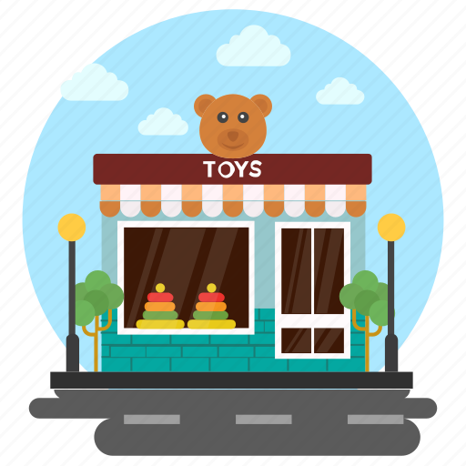 commercial market, kids shop, toy garage, toy shop, toy store icon