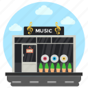 music gallery, music library, music shop, music store, music studio