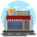 fast food, market building, pizza shop, restaurant, restaurant exterior