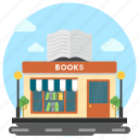 bookshop, bookstore, library, library building, marketplace icon