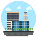 business center, commercial building, factory, industry, trade center icon