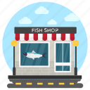 butchers shop, fish shop, meat shop, seafood, shop building icon