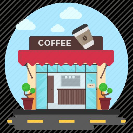 cafe, cafe building, cafe exterior, coffee bar, snack bar icon