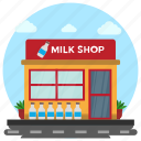 dairy point, dairy shop, dairy store, milk shop, milk store