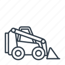 compact loader, construction, industry, machinery, skid loader, tool icon