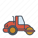 construction, industry, machinery, road paver, road roller, tool, vehicle icon