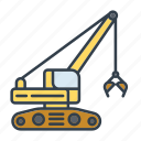 clamshell, construction, excavator, industry, machinery, tool, vehicle