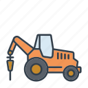 construction, drill, industry, machinery, tool, tractor, vehicle