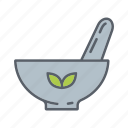 beauty, cosmetics, herbal medicine, mortar, pestle, relaxation, spa icon
