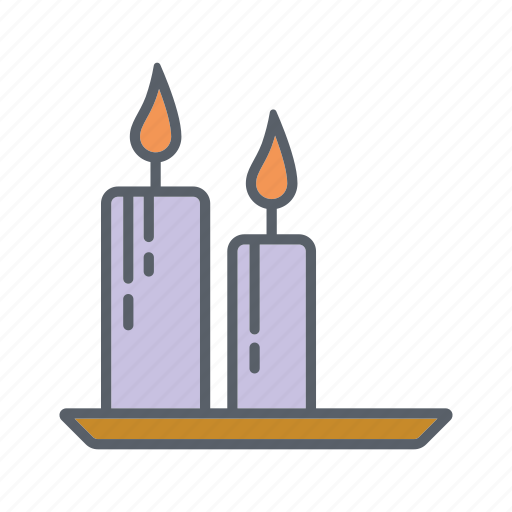 candles, fire, flame, relaxation, spa, tray icon