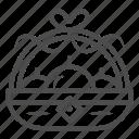 basket, fruit, harvesting, bow, ribbon, handle icon