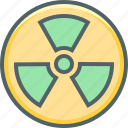 atom, atomic, danger, energy, nuclear, radioactive, warning icon
