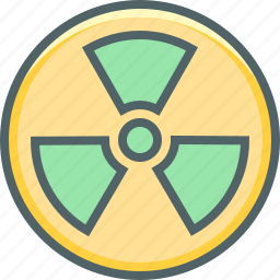 atom, atomic, danger, energy, nuclear, radioactive, warning icon