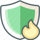 burn, fire, flame, protection, safe, secure, shield icon