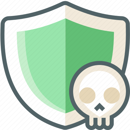 antivirus, protection, safe, secure, security, shield, skull icon